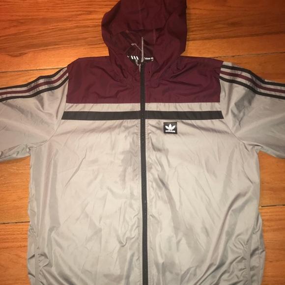 Adidas XL Maroon & Grey Windbreaker Jacket